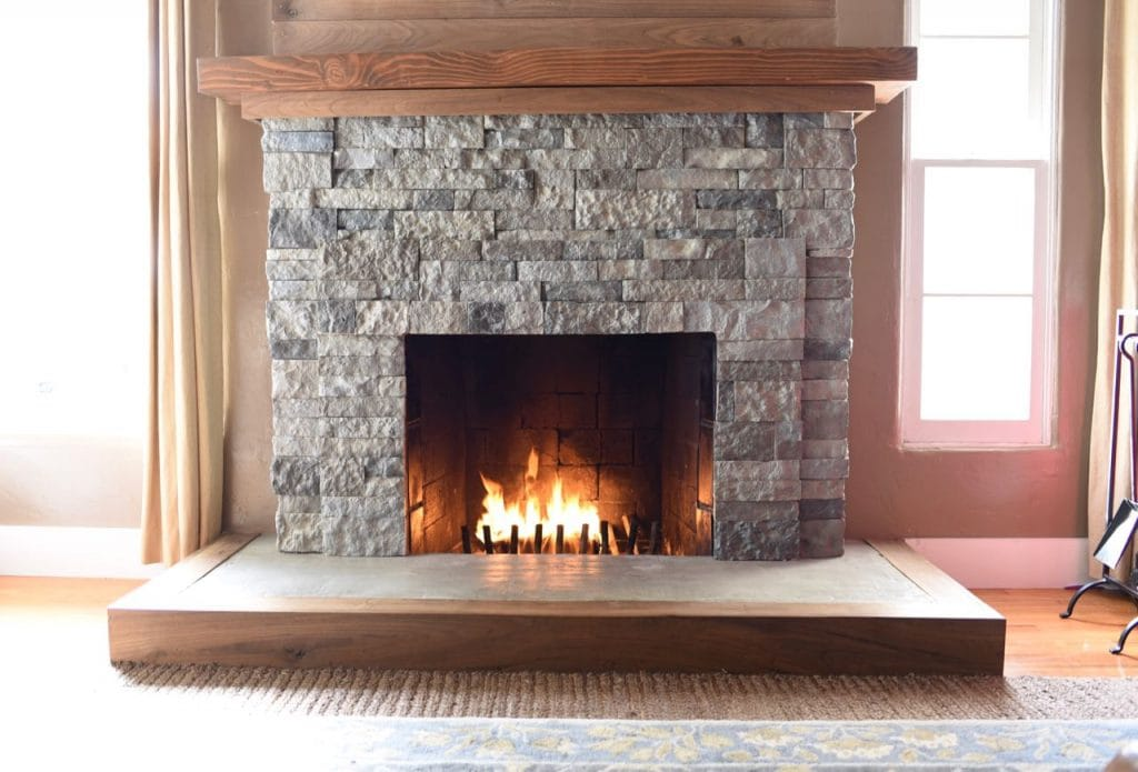 AirStone fireplace makeover. How to turn your old brick fireplace into a beautiful stone fireplace with AirStone.