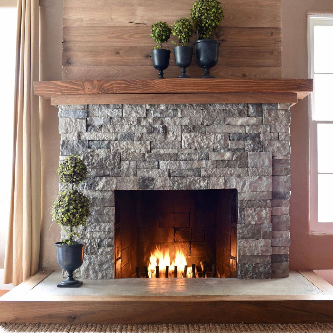 Airstone fireplace makeover make life lovely - How to make a brick fireplace look modern ...