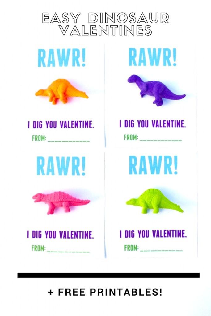 Free printable dinosaur valentines. Just print and glue on a toy dinosaur. Cute!