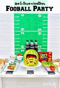 Healthy football party ideas. LOVE the watermelon helmet!