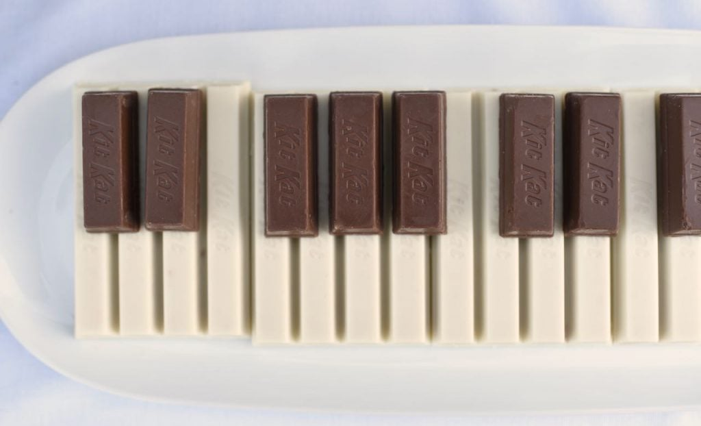 Chocolate piano for a La La Land party or music party