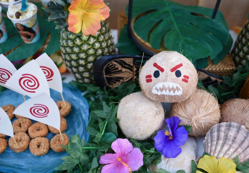 Moana birthday party ideas. So cute, love the kakamora coconuts!