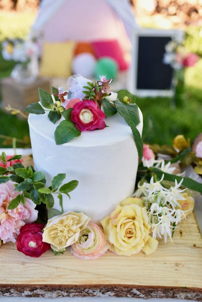 Boho cake at bohemian woodland party