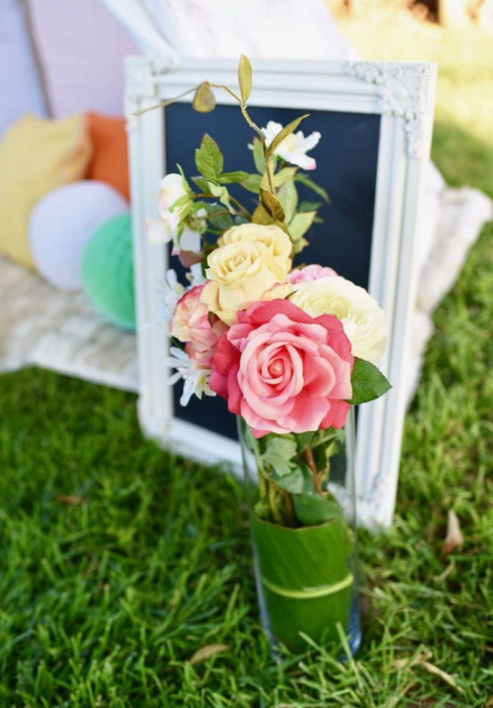Boho chic party with flowers and teepee