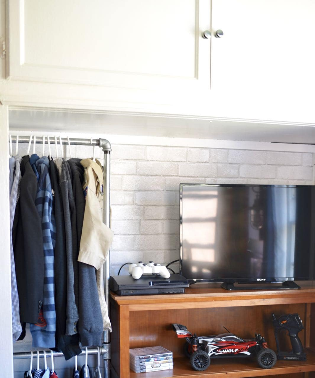 Boys Closet Makeover With Wallpaper Background