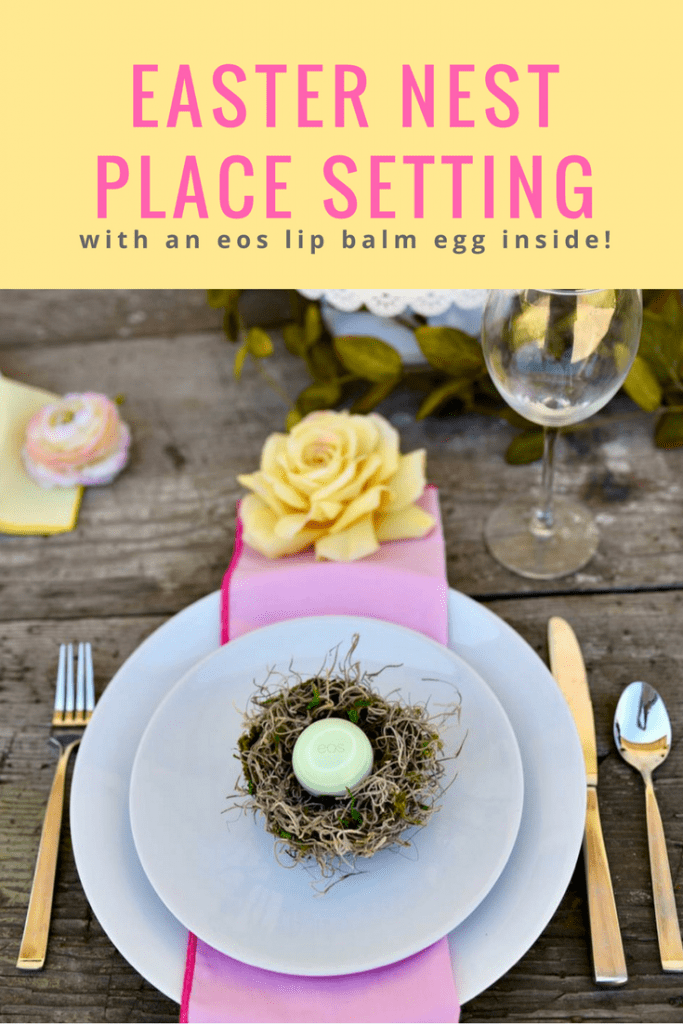 Easter nest place setting with eos egg. Learn how to make this cute nest that fits an eos lip balm perfectly!