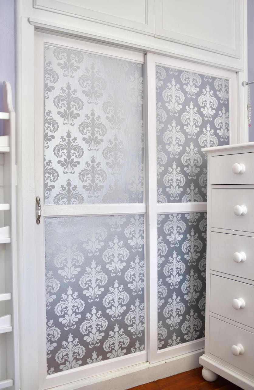 S Closet Makeover With Metallic L And Stick Wallpaper