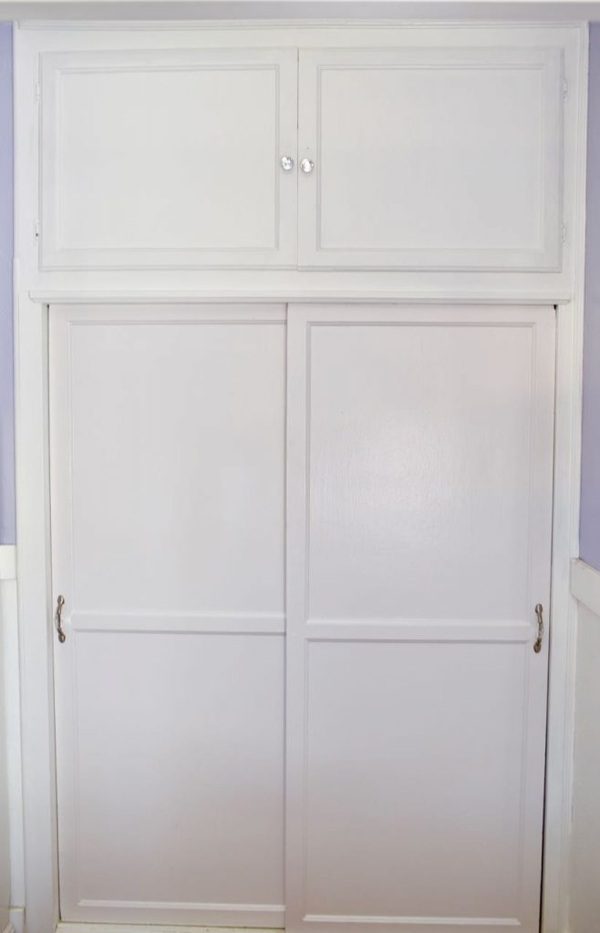 Girls closet makeover with peel and stick wallpaper