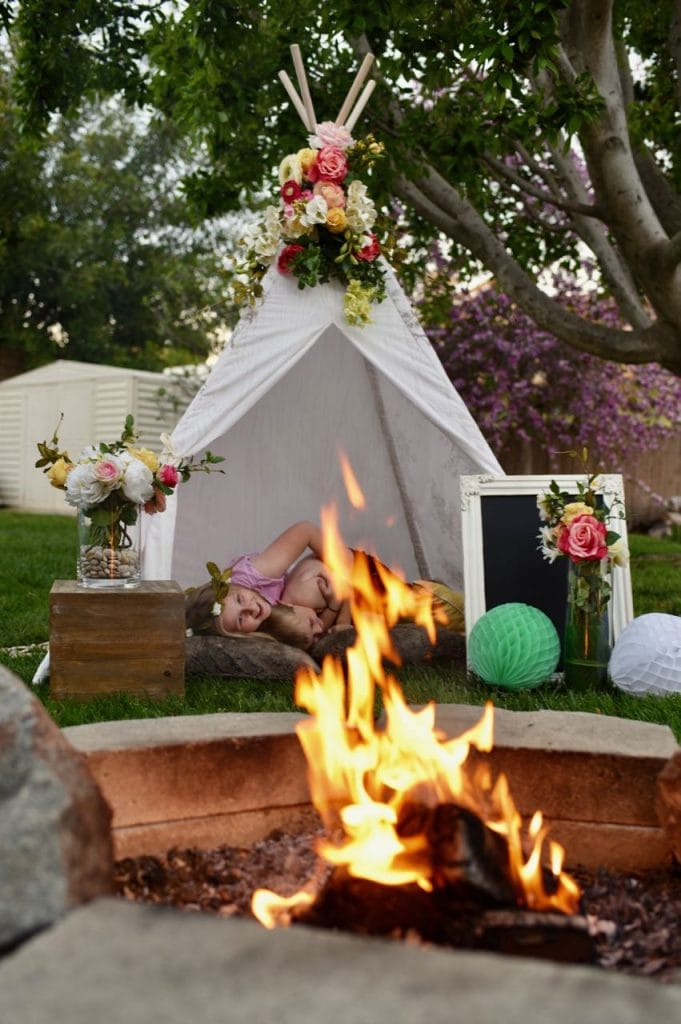 Rustic bohemian party with teepee