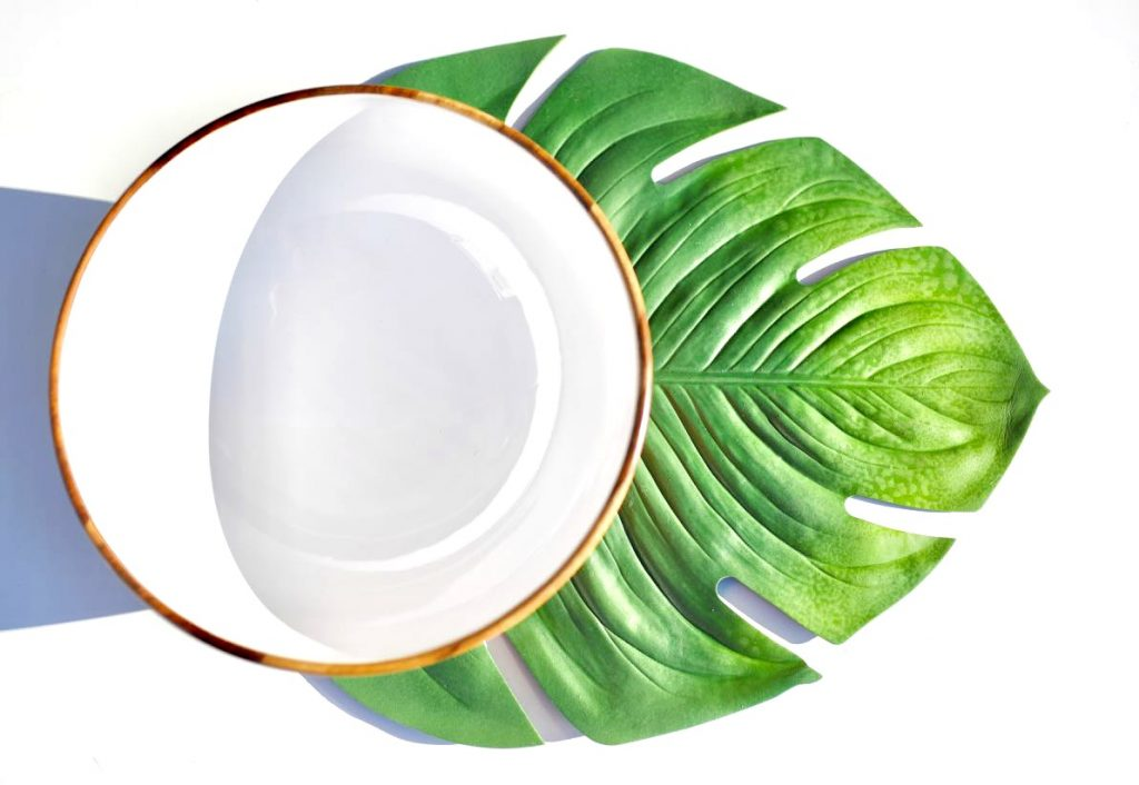 Tropical bowl and leaf placemat from World Market for tropical Mother's Day gift basket