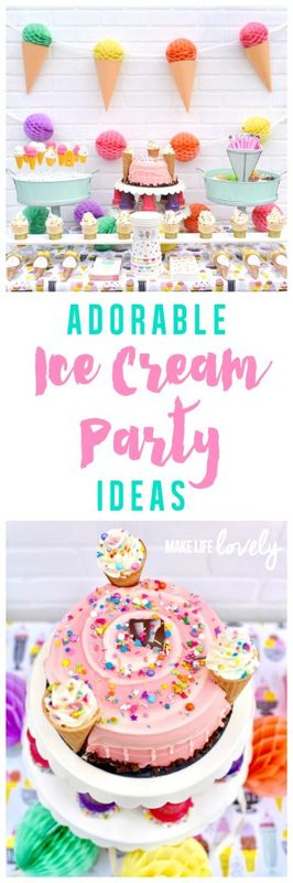 Adorable ice cream party ideas, perfect for an ice cream birthday party, slumber party, or just for fun!