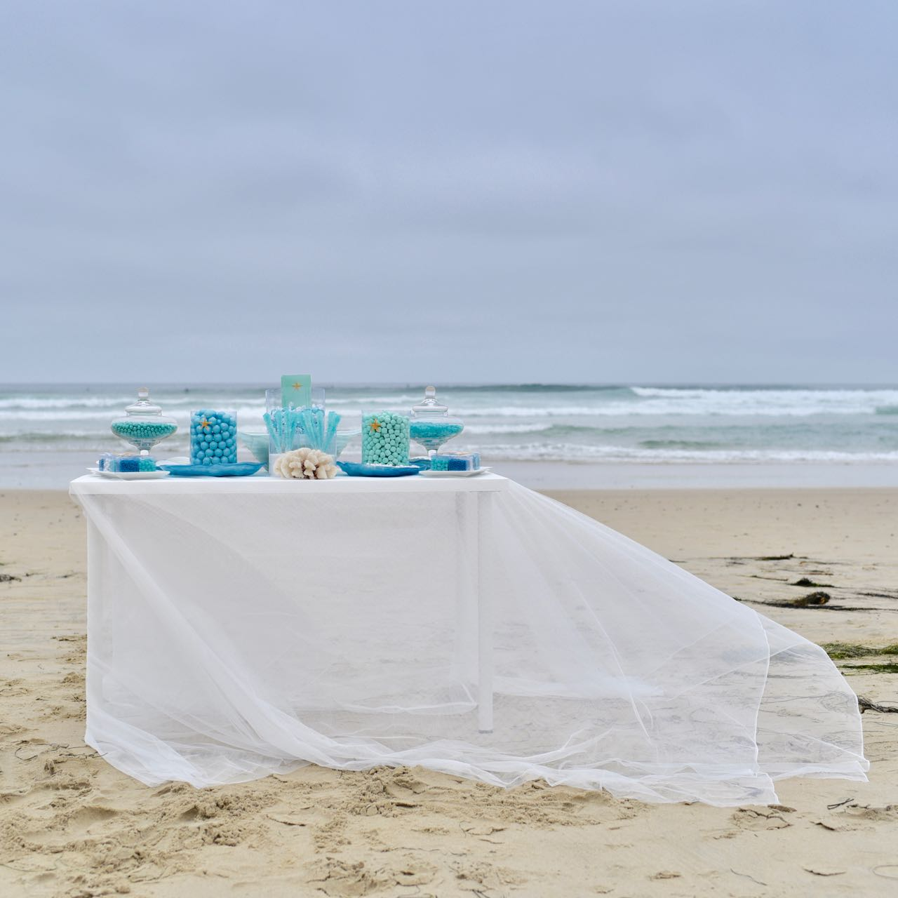 Blue Candy Buffet for an Ocean Themed Wedding - Make Life Lovely