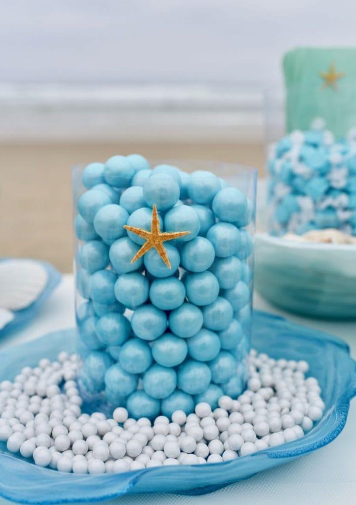 Blue candy buffet for ocean wedding candy buffet