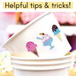 Ice cream stickers on paper ice cream cups