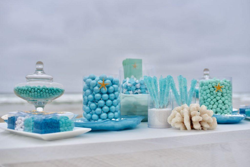 Ocean themed blue candy buffet at beach