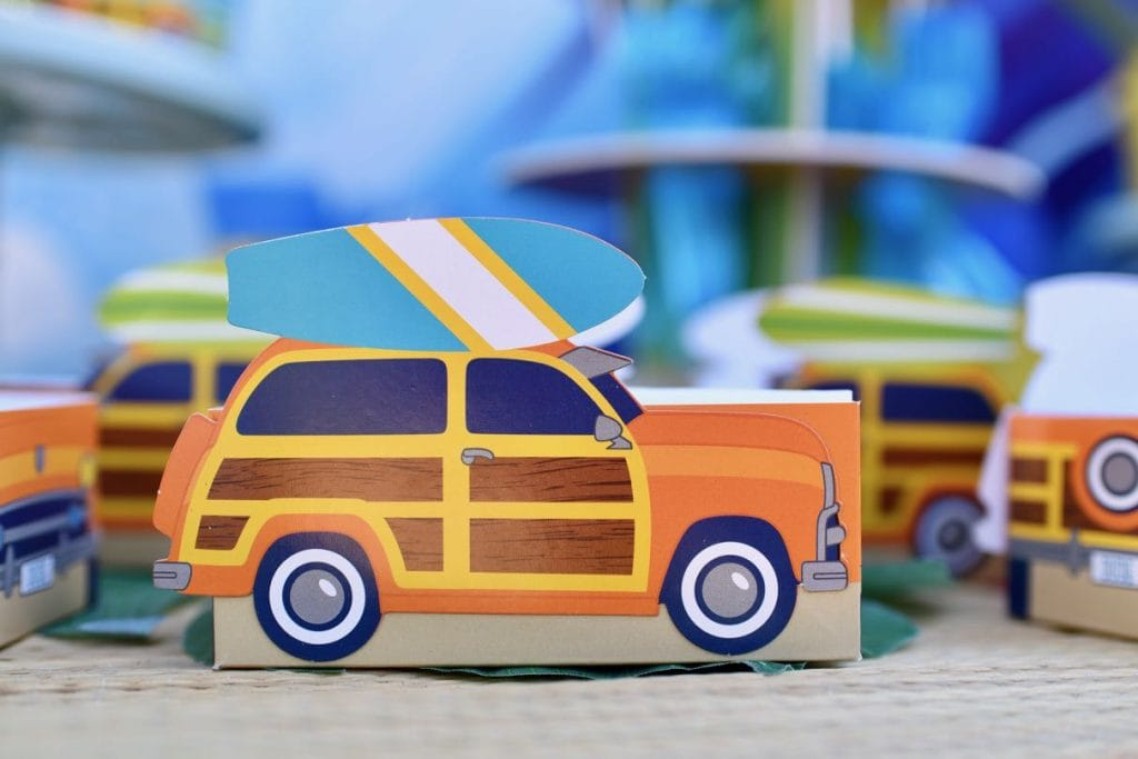 Surfing party woody favor boxes