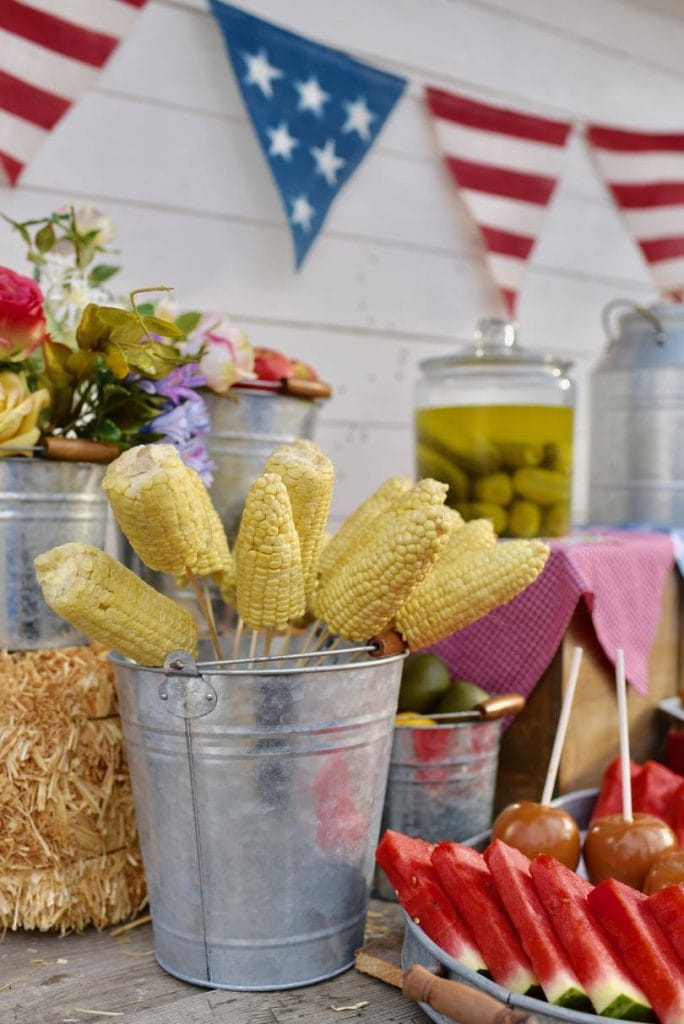 Corn on the cob on a stick for county fair party