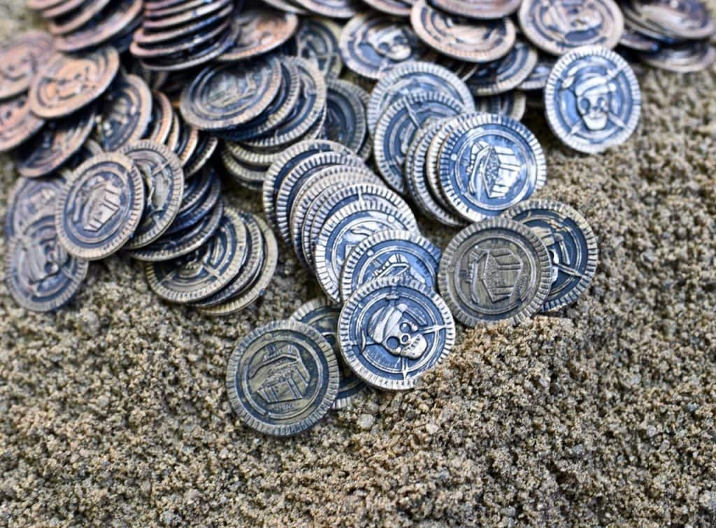 Pirate coins for kids treasure hunt