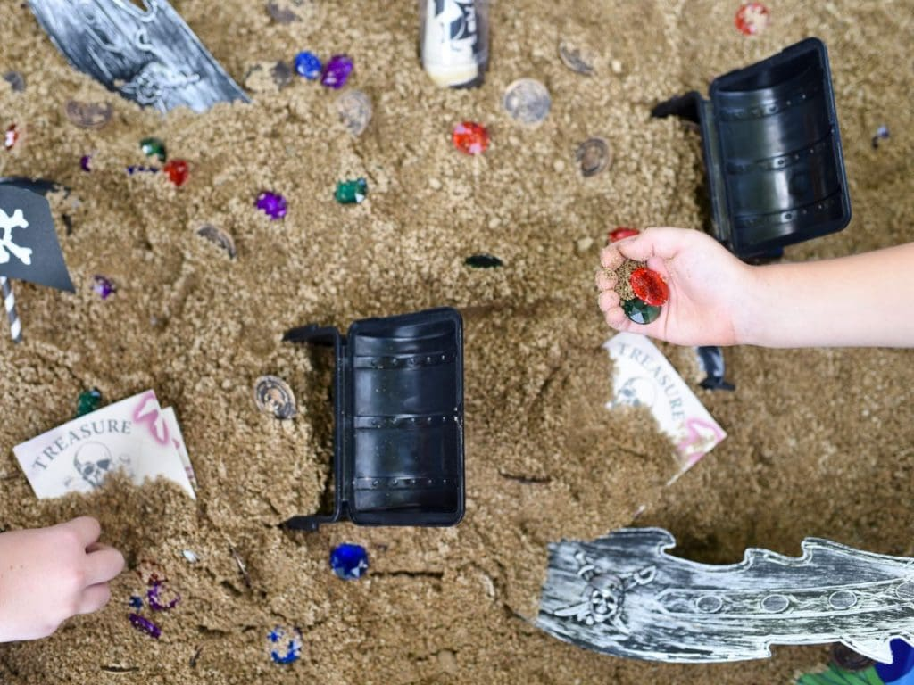Pirate treasure dig and sensory bin for kids