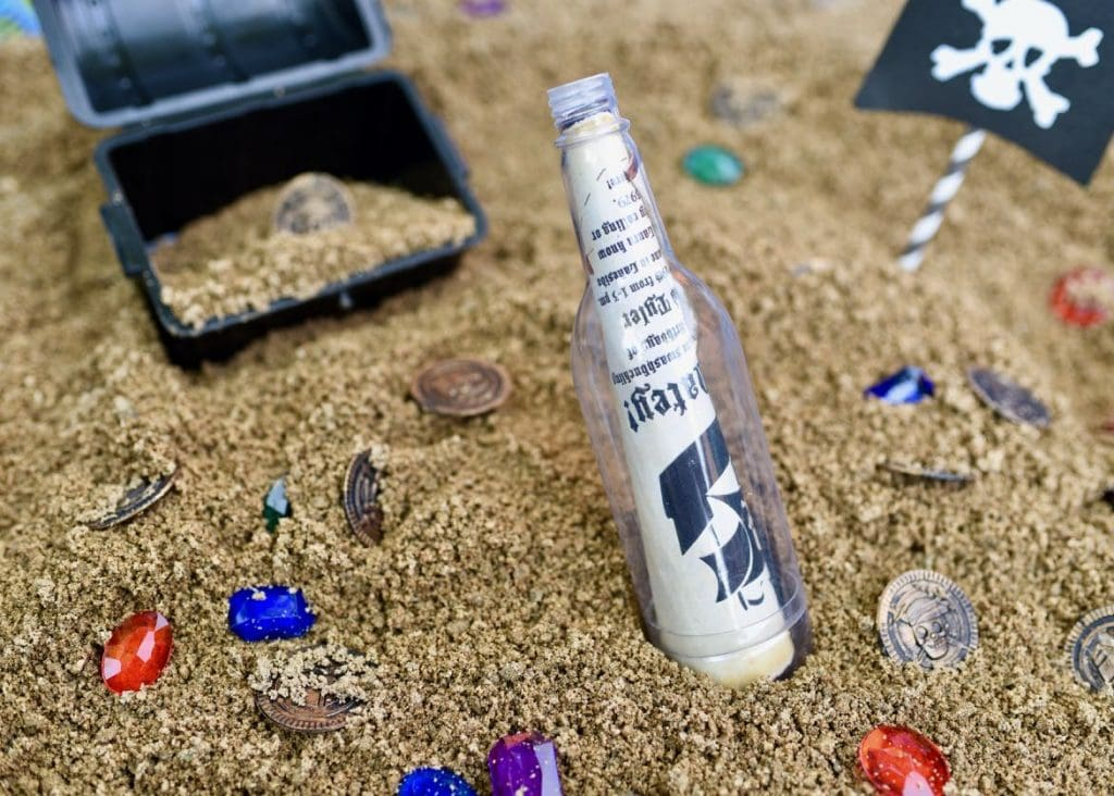 Pirate treasure hunt and dig activity for kids