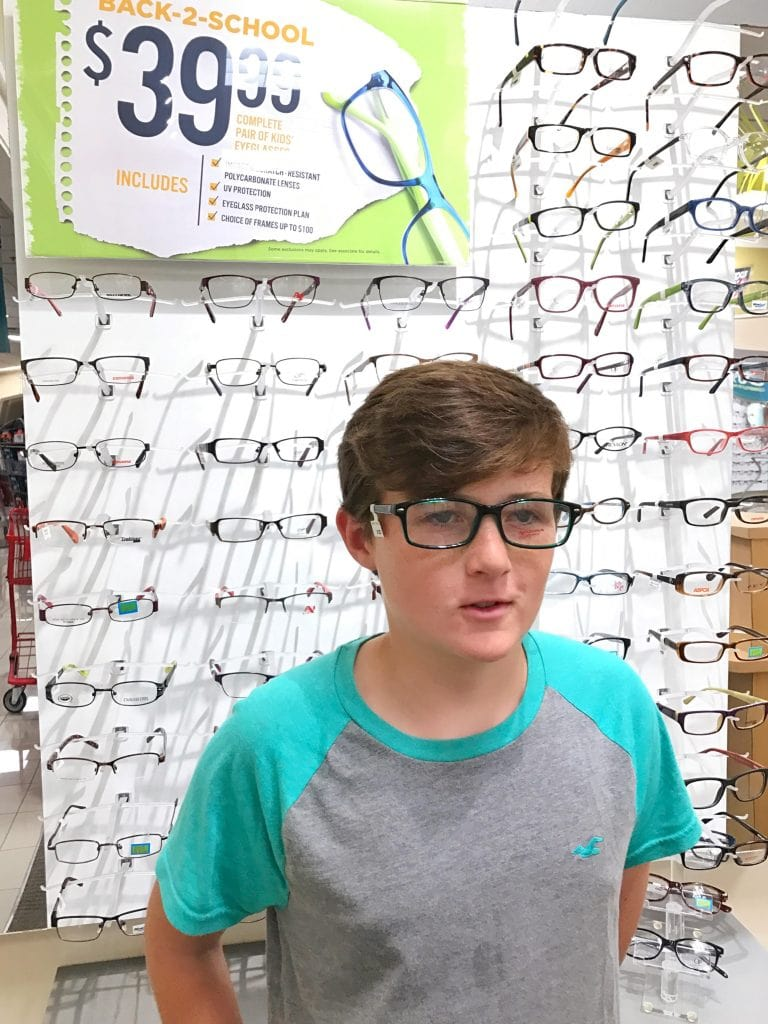 Selecting frames at JCPenney Optical