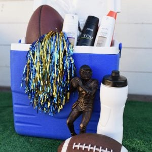 DIY football gift basket for teenage boy