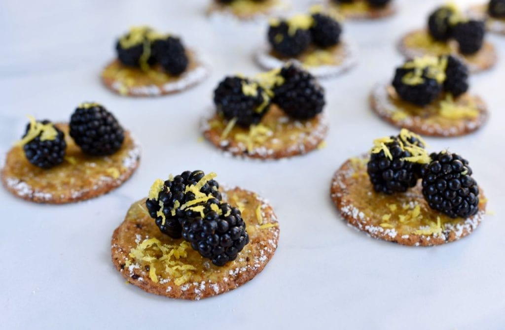 Lemon blackberry cranberry crackers appetizer idea