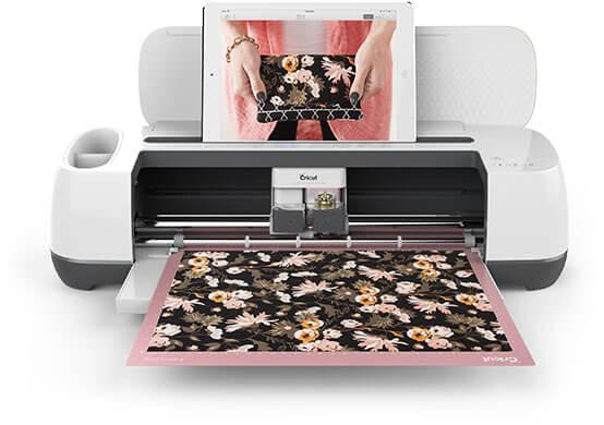 Cricut Maker machine cutting fabric