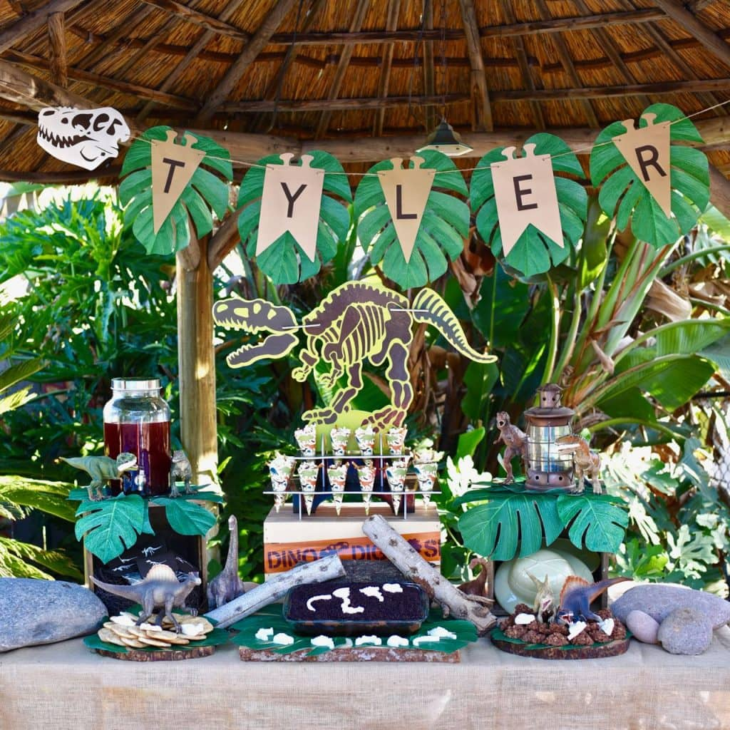 Dinsoaur party with lots of dinosaur food ideas and amazing decorations!