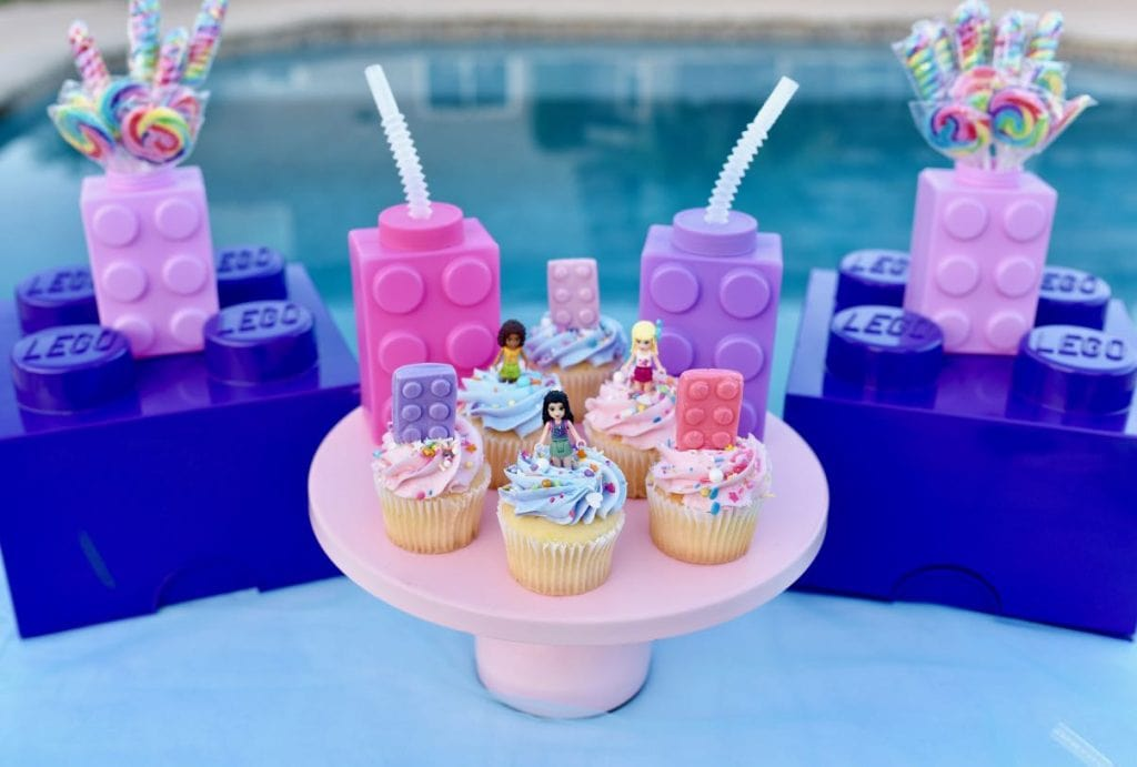 LEGO Friends party with milk and cupcakes
