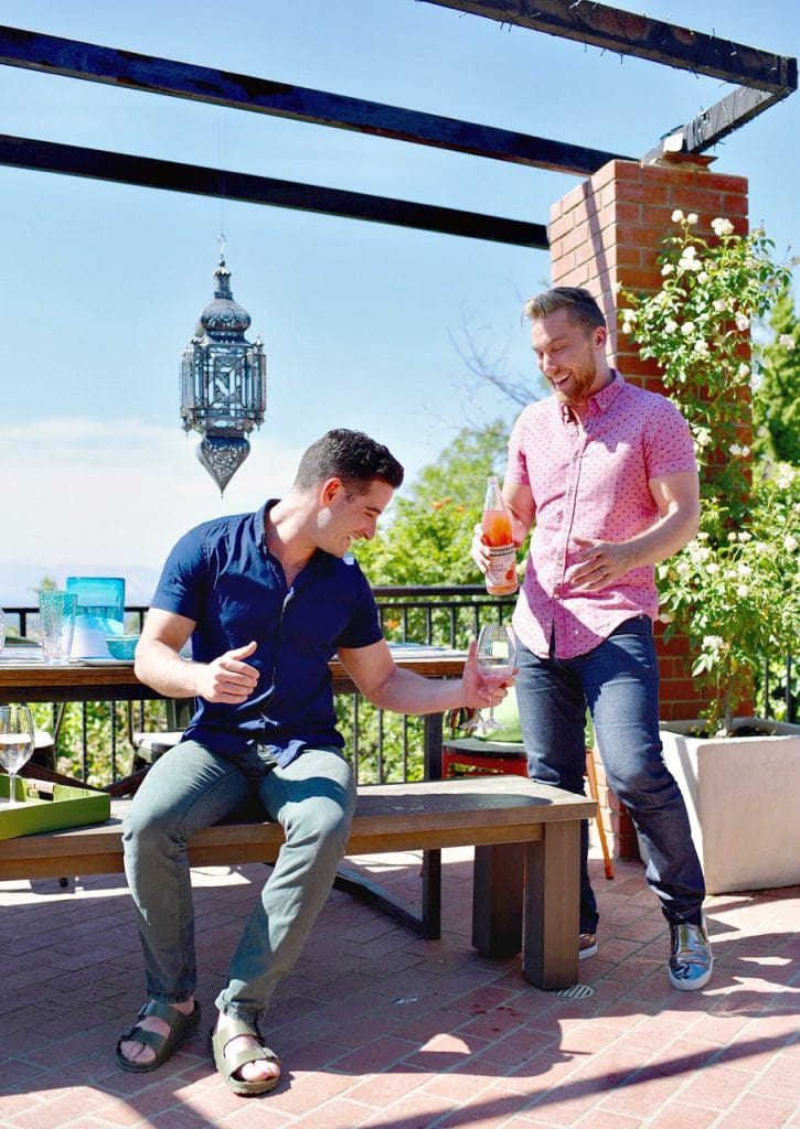Lance Bass and husband Michael Turchin at Los Angeles home backyard makeover with World Market