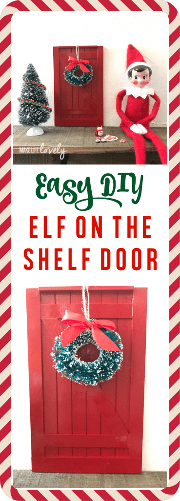 Easy DIY Elf on the Shelf door. Surprise your kids this Christmas with an Elf on the Shelf door that is easy to make in just a few minutes!