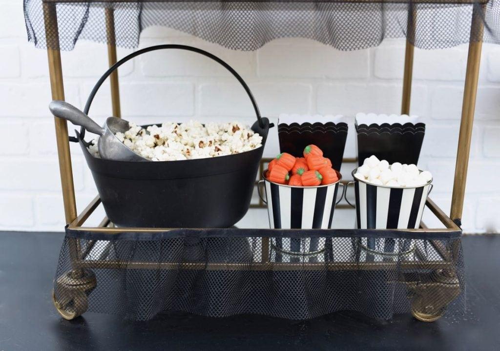 Halloween candy popcorn cart at Halloween movie night