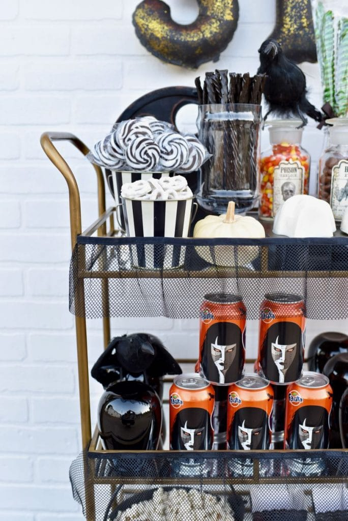 How to style a Halloween bar cart for a halloween movie night