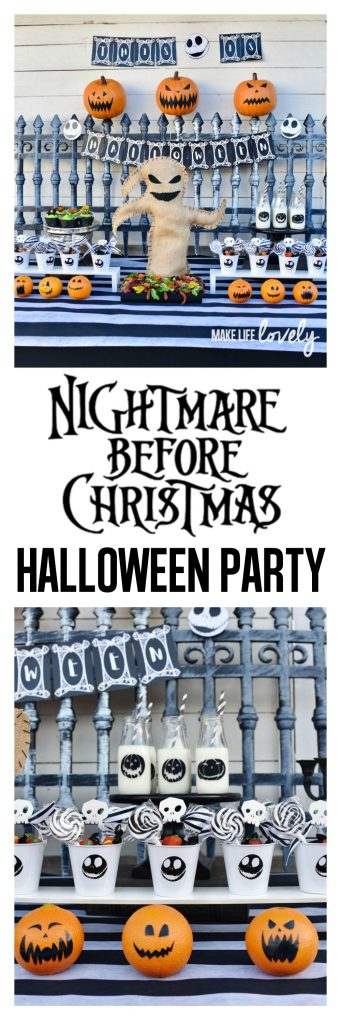 Nightmare Before Christmas party. Amazing party with Oogie Boogie bug platter, Jack Skellington party favors, jack-o-lantern oranges, and so much more!