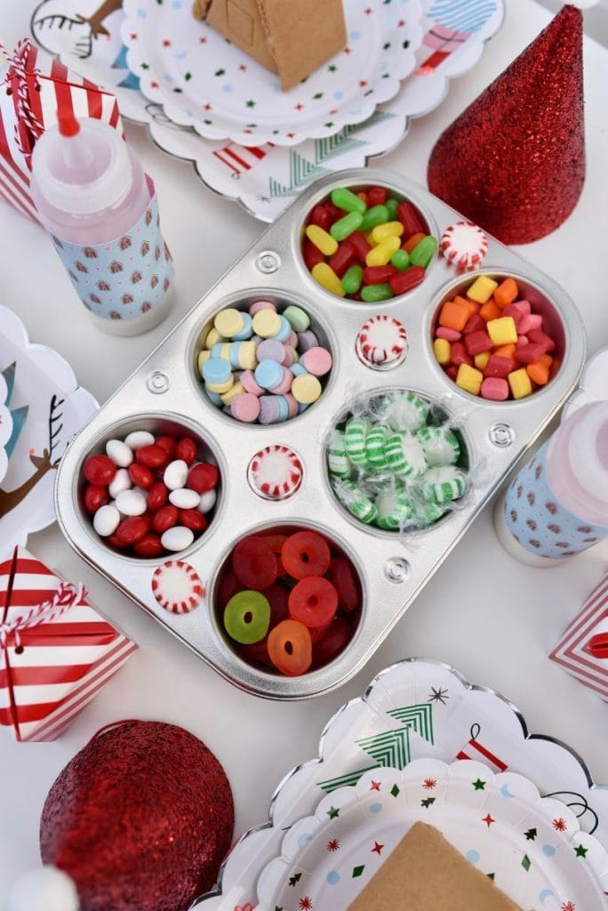 Candy for gingerbread house decorating party