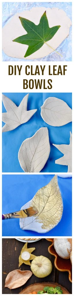 DIY clay leaf bowls and tealight holders made from air dry clay. Kids and adults will both love this fun and pretty fall craft!