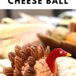 turkey cheese ball on plate with crackers