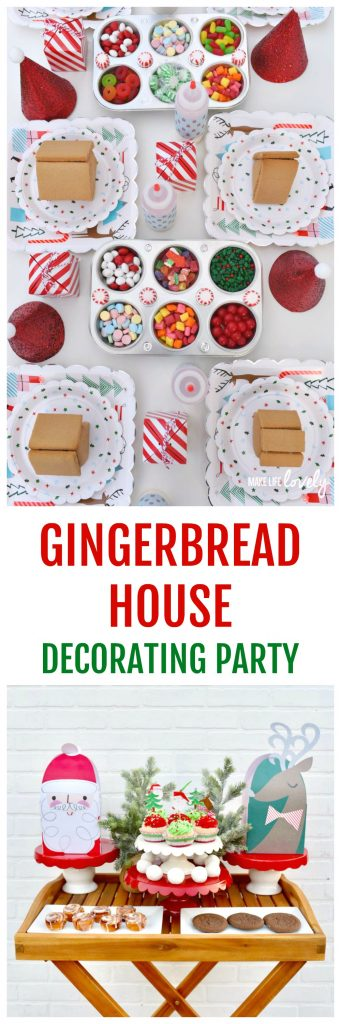 Gingerbread house decorating party. Guests will have so much fun decorating their gingerbread houses at this creative holiday party!