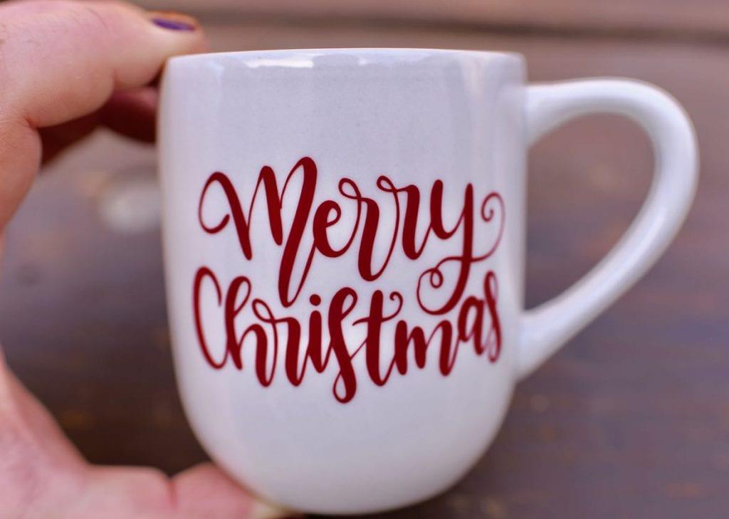 Hot cocoa gift basket with DIY Christmas vinyl mug