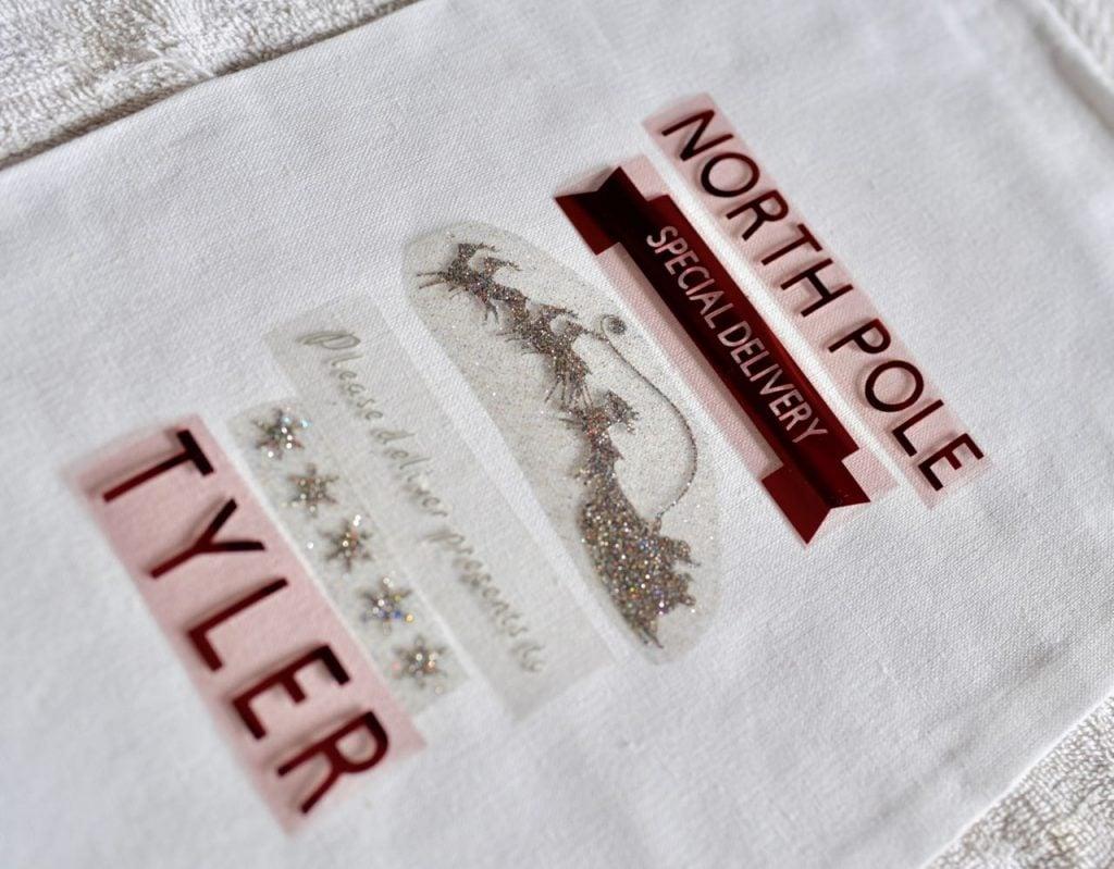 Make a diy personalized Christmas sack with Cricut Explore Air 2