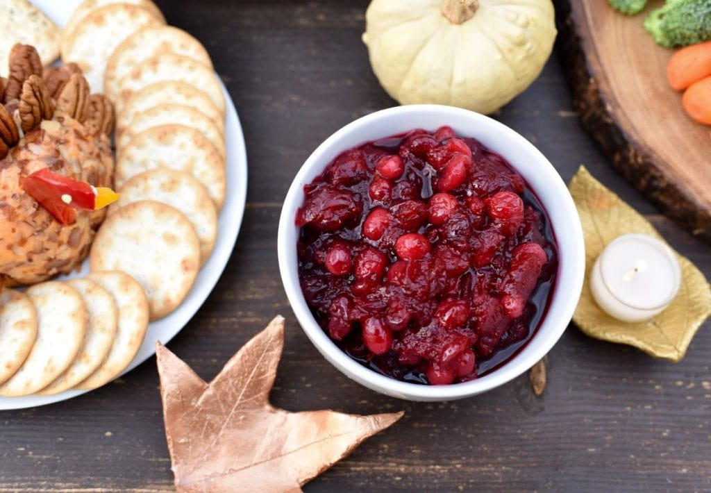 Orange cranberry sauce at Thanksgiving table