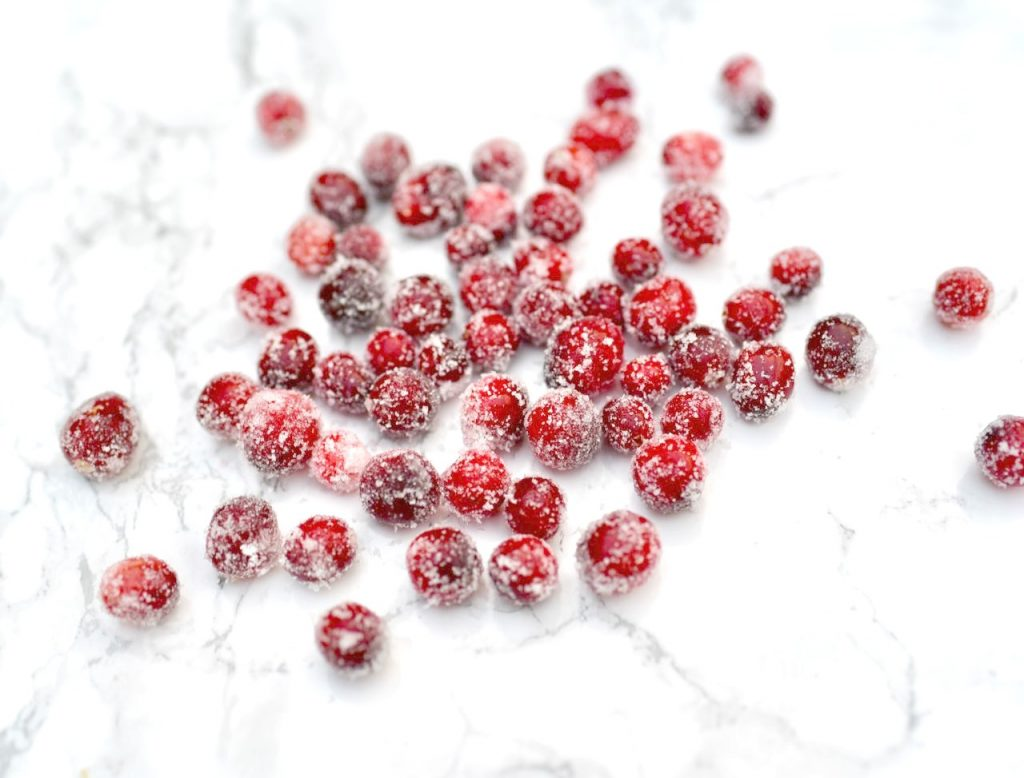 Sugared cranberries for cranberry bundt cake
