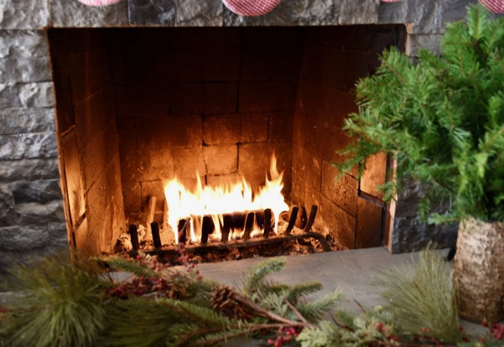 Christmas fire in the fireplace