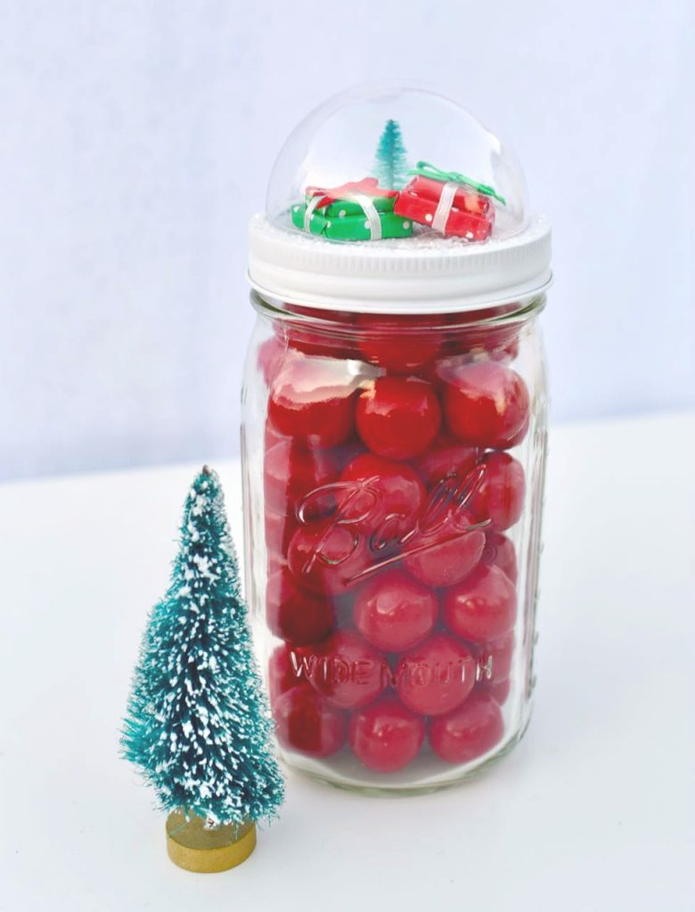 How to make snow globe mason jar toppers-2