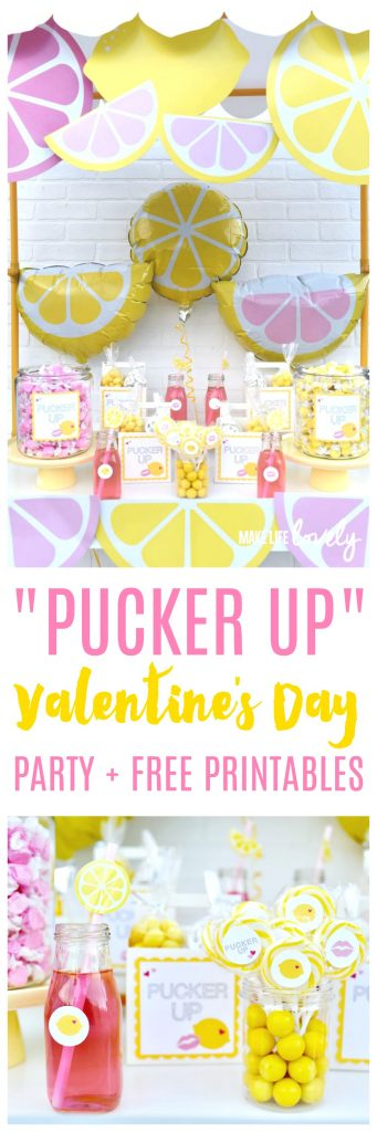 """Pucker Up"" Valentine's Day party theme + FREE party printables! Such a cute and creative Valentine's Day party."