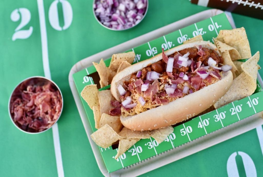 Bacon chili cheese dog football food