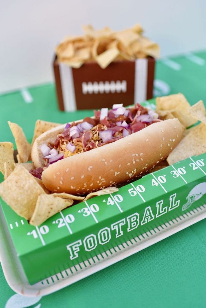 Bacon chili cheese dog recipe, the perfect football food for tailgating and enjoying the big game!