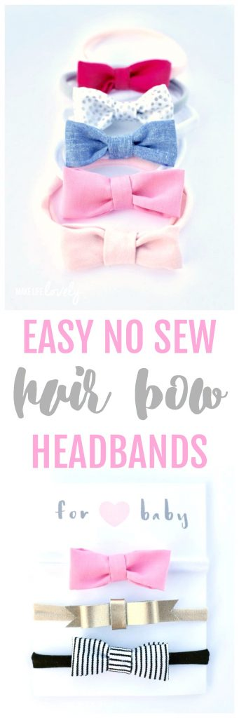 EASY no sew hair bow head bands tutorial. Make adorable newborn bow headbands for your baby! These also work for toddler girls, are inexpensive, and take just a few minutes to make.
