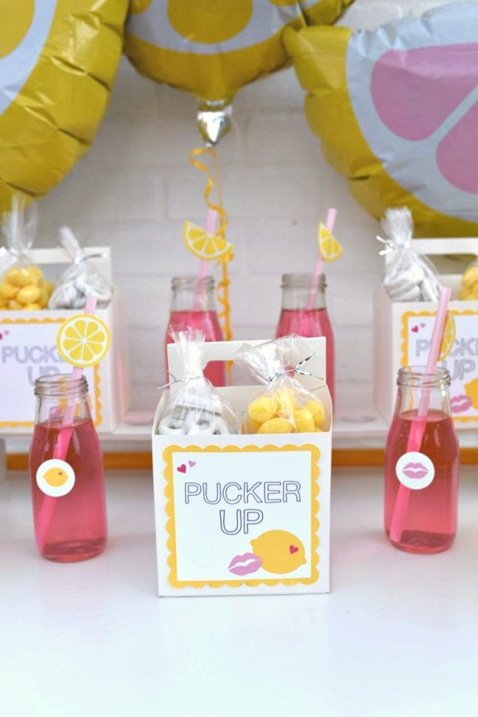Free Valentine's Day party printables for Pucker Up Valentine's Day party theme